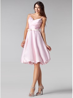 A-Line/Princess Sweetheart Knee-Length Charmeuse Bridesmaid Dress With Ruffle Sash Bow(s)