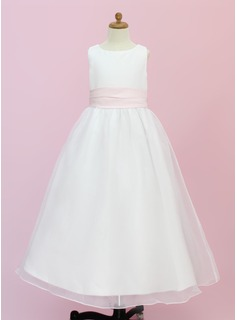 A-Line/Princess Scoop Neck Floor-Length Organza Satin Flower Girl Dress With Sash Flower(s)