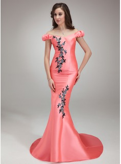 Trumpet/Mermaid Off-the-Shoulder Sweep Train Satin Prom Dress With Beading Appliques Lace Sequins