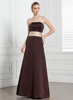 A-Line/Princess Strapless Floor-Length Satin Bridesmaid Dress With Sash
