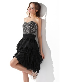 A-Line/Princess Sweetheart Knee-Length Chiffon Homecoming Dress With Beading Cascading Ruffles