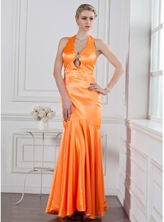 Mermaid Halter Floor-Length Charmeuse Holiday Dress With Crystal Brooch