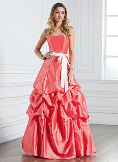 A-Line/Princess Sweetheart Floor-Length Taffeta Bridesmaid Dress With Ruffle Sash Bow(s)