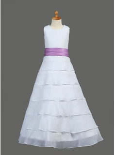 A-Line/Princess Scoop Neck Floor-Length Chiffon Charmeuse Flower Girl Dress With Sash Flower(s)