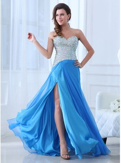 A-Line/Princess Sweetheart Sweep Train Chiffon Evening Dress With Beading Split Front