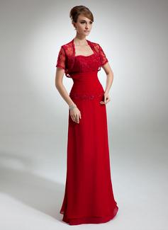 Linia A/Księżniczka Kochanie Do Podłogi Chiffon Suknia dla Mamy Panny Młodej Z Żabot Lace Perełki