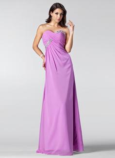 Empire Sweetheart Floor-Length Chiffon Bridesmaid Dress With Ruffle Beading Sequins