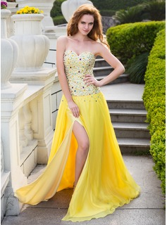 A-Line/Princess Sweetheart Sweep Train Chiffon Charmeuse Prom Dress With Beading Split Front