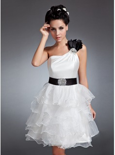 A-Line/Princess One-Shoulder Knee-Length Organza Satin Homecoming Dress With Sash Beading Sequins Cascading Ruffles
