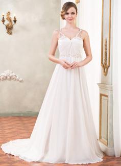 Corte A/Princesa Escote corazón Tren de la catedral Chifón Satén Tul Vestido de novia con Volantes Bordado Lentejuelas