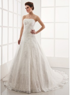 A-Line/Princess Strapless Cathedral Train Satin Lace Wedding Dress With Beading