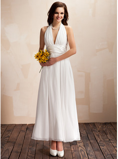 A-Line/Princess Halter Ankle-Length Chiffon Wedding Dress With Ruffle Bow(s)
