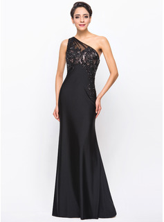Trumpet/Mermaid One-Shoulder Floor-Length Tulle Charmeuse Jersey Evening Dress With Beading Appliques Lace
