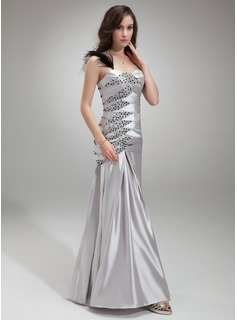 Trumpet/Mermaid One-Shoulder Floor-Length Charmeuse Prom Dress With Ruffle Beading Feather