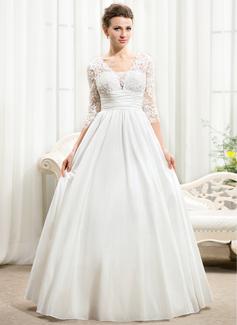 Corte A/Princesa Escote en V Hasta el suelo Tafetán Encaje Vestido de novia con Volantes Bordado Lentejuelas