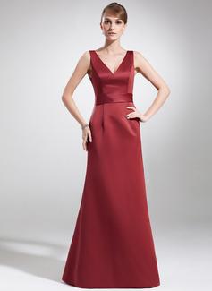 A-Line/Princess V-neck Floor-Length Satin Mother of the Bride Dress