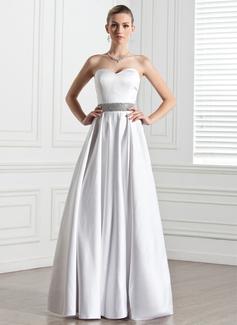 Corte A/Princesa Escote corazón Hasta el suelo Satén Vestido de novia con Bordado