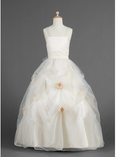 Ball Gown Floor-length Flower Girl Dress - Organza/Charmeuse Sleeveless Sweetheart With Flower(s)/Pick Up Skirt