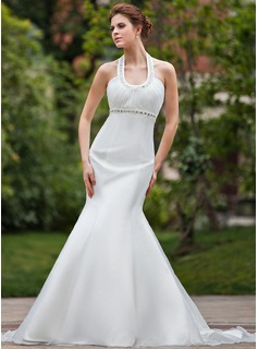Mermaid Halter Chapel Train Organza Wedding Dress With Ruffle Beadwork