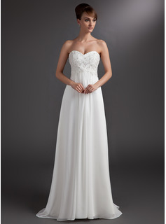 Empire Sweetheart Sweep Train Chiffon Bridesmaid Dress With Lace Beading