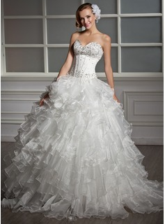 Ball-Gown Sweetheart Floor-Length Organza Satin Wedding Dress With Beading Sequins Cascading Ruffles