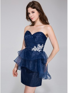 Sheath/Column Sweetheart Short/Mini Organza Cocktail Dress With Beading Appliques Cascading Ruffles