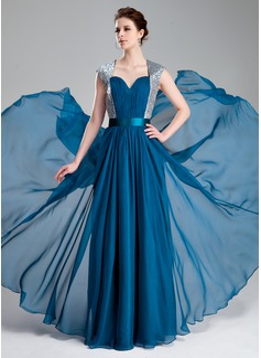 Corte A/Princesa Escote corazón Hasta el suelo Chifón Charmeuse Con lentejuelas Vestido de baile de promoción con Volantes