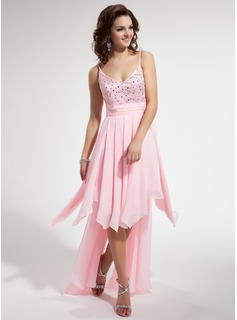 A-Line/Princess V-neck Asymmetrical Chiffon Homecoming Dress With Beading Cascading Ruffles