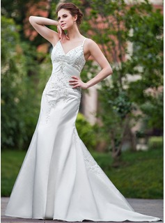 Mermaid V-neck Chapel Train Satin Wedding Dress With Embroidery Beadwork Sequins