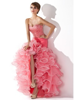 Trumpet/Mermaid Sweetheart Asymmetrical Organza Satin Prom Dress With Ruffle Beading Sequins Split Front Cascading Ruffles