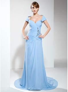 A-Line/Princess Off-the-Shoulder Court Train Chiffon Mother of the Bride Dress With Ruffle Beading