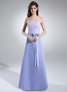 Çan/Prenses Askısız Uzun Etekli Chiffon Satin Nedime Elbisesi