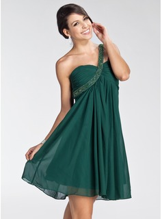 Empire One-Shoulder Short/Mini Chiffon Homecoming Dress With Ruffle Beading