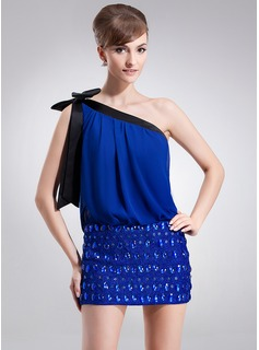 Sheath/Column One-Shoulder Short/Mini Chiffon Cocktail Dress With Lace Sash Beading Bow(s)