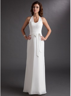 Sheath/Column Halter Floor-Length Chiffon Bridesmaid Dress With Bow(s)