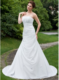 Trumpet/Mermaid Strapless Cathedral Train Taffeta Wedding Dress With Ruffle Beading Appliques Lace
