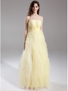 A-Line/Princess Strapless Floor-Length Organza Prom Dress With Ruffle Cascading Ruffles