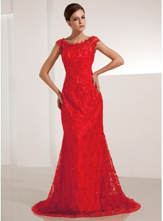 Mermaid Scoop Neck Court Train Lace Evening Dress With Beading Sequins