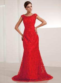 Sereia Decote redondo Cauda corte laço Vestido de festa com Beading Sequins (017014206)