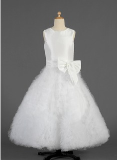 A-Line/Princess Scoop Neck Floor-Length Taffeta Tulle Flower Girl Dress With Bow(s) Cascading Ruffles