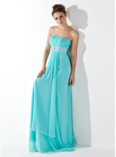 Empire Strapless Sweep Train Chiffon Evening Dress With Ruffle Beading