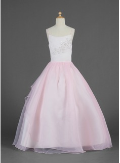A-Line/Princess Scoop Neck Floor-Length Organza Flower Girl Dress With Lace Beading Sequins Cascading Ruffles