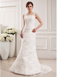 Mermaid Scoop Neck Court Train Satin Lace Wedding Dress