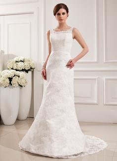 Trumpet/Mermaid Scoop Neck Court Train Satin Lace Wedding Dress