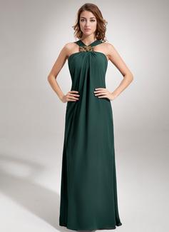 Etui-Linie V-Ausschnitt Bodenlang Chiffon Abendkleid mit Rüschen Perlen verziert