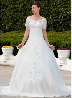 Ball-Gown Off-the-Shoulder Chapel Train Organza Wedding Dress With Ruffle Lace Beadwork