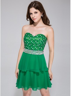 A-Line/Princess Sweetheart Short/Mini Chiffon Charmeuse Homecoming Dress With Lace Beading Sequins