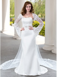 Trumpet/Mermaid Sweetheart Watteau Train Satin Tulle Wedding Dress With Lace Beading
