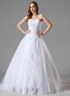 Balklänning Hjärtformad Court släp Tyll Bröllopsklänning med Spetsar Pärlbrodering