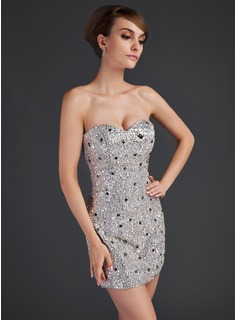 Sheath Sweetheart Short/Mini Satin Sequined Cocktail Dress With Beading